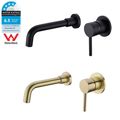 WELS Brass Basin Mixer Tap Sink Faucet Swivel Spout, Brushed Gold /Matte Black