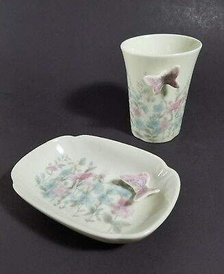 VTG Takahashi Butterfly & Flowers Soap Dish & Toothbrush Holder Cup Japan Made