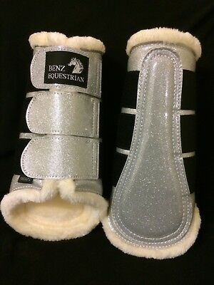 Silver Sparkly Patent Glitter Brushing Dressage Tendon Boots Fleece Lined S M L