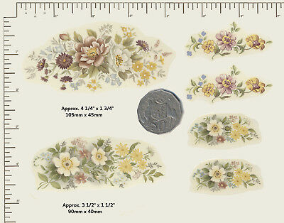 6 x Waterslide ceramic decals Decoupage Yellow spring flowers Floral mix. A58