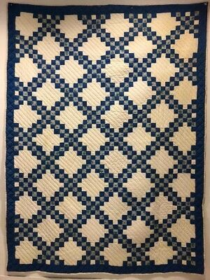 "Vtg Antique Quilt Blue & White Irish Chain Handmade Hand Stitched @7'10""x 5'11"""