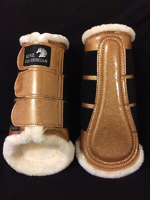 Sparkly Gold Patent Glitter Brushing Dressage Tendon Boots Fleece Lined S M L