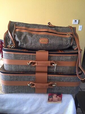 NWTVintage Fifth Avenue 3 Piece Tweed Luggage Set with Rolling Suitcase (Wheels)