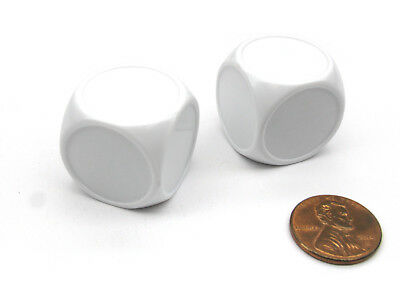 Pack of 2 Blank White 22mm D6 Chessex Dice - Rounded Corners