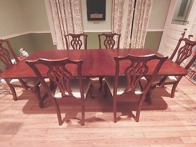 Chippendale Style Mahogany Dining Room Table Set Claw Ball