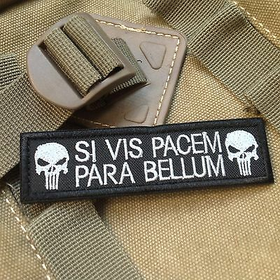 Si Vis Pacem Para Bellum Punisher Tactical Isaf Morale Swat Patch /Black