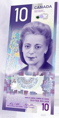 **CANADA 2018 $10 BANKNOTE Bill  VIOLA DESMOND VERTICAL UNC MINT AVAILABLE NOW!