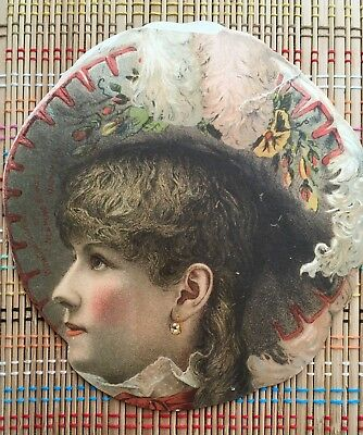 Antique Hand Fan Header:  New Home Sewing Machine, Beautiful Lady with Hat!
