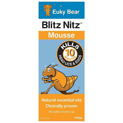 Euky Bear Blitz Nitz Mousse 175Ml Kills Head Lice & Eggs In 10 Minutes Clinical