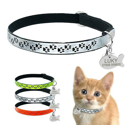 Fluorescent Reflective Elastic Personalized Cat Collar & ID Name Tags free Bell