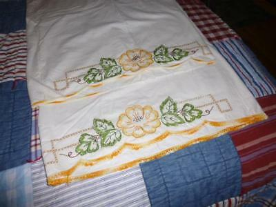 Estate Sale Find Pillow Cases Need To Be Finished Embroidered Crocheted Edge