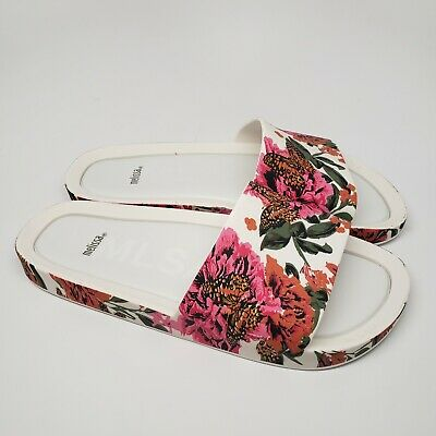 f1e445bccc4  84.95 New Melissa Beach III Pink and White Floral Slide Sandals In Size 9