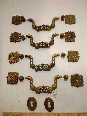 4 Antique Brass Dresser Pulls Desk Drawer Handles Vintage ornate victorian