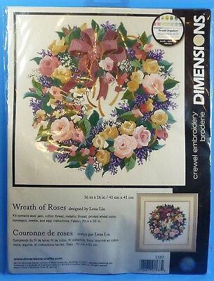 """Dimensions Wreath of Roses Crewel Embroidery Kit  # 1537 16"""" x 16"""""""