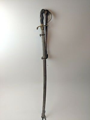 Antique Wwi German Lion Head Officers Sword W Nickel Plated Scabbard And Knot
