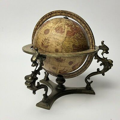 Desk Top Zodiac Sign Old World Globe w/ Brass Base Italy Italian