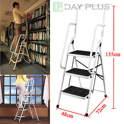 3 Step Ladder With Safety Handrail Handle Foldable Non Slip Feet Safe Heavy Duty