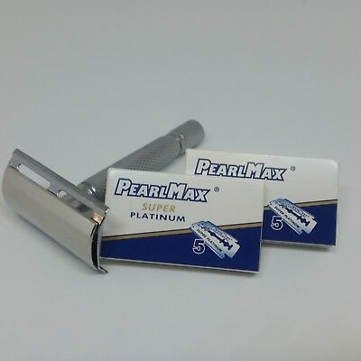 PearlMax Razor + 10 Blades Super Platinum Double Edge, Safety Razor Shave