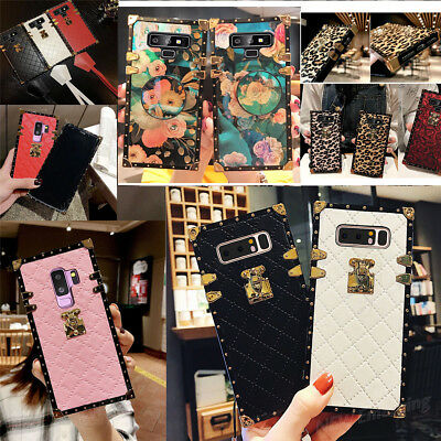 Samsung Note 9 S8 S10 Plus Square 3D Leopard Grid Embroidery Leather Case Cover