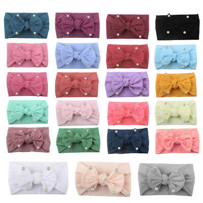 1PCS Newborn Baby Girl Pearl Bow Hair Band Turban Knot Headband Headwrap Lot
