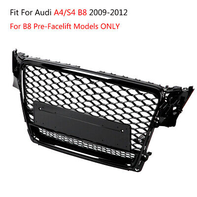 RS4 Quattro Style Front Bumper Grill Honeycomb Mesh Trim For Audi A4 S4 B8 09-12