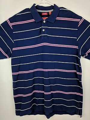 0047c7a7 Mens Izod Polo Shirt Size XL Purple Pink White Striped Short Sleeve Golf  Rugby
