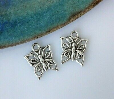 Butterfly Charms 10pc - Antique Silver Nature Animal Insect Pendant Spring CH149