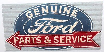 Ford Metal Sign Parts and Service Vintage Replica In Great Condition