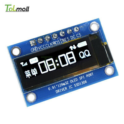 """0.91"""" SPI inch 128x32 White OLED LCD Display Module SSD1306 For Arduino STM32 51"""