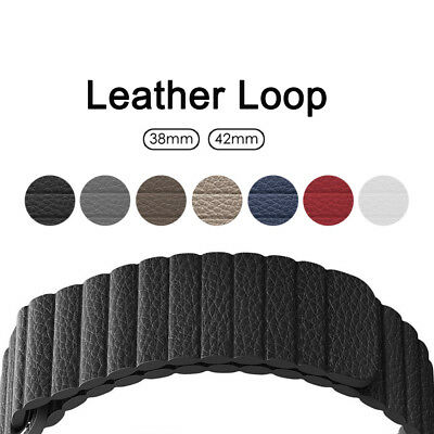 Leather Loop Magnetic Band for Apple Watch Series 4 3 2 1 38mm 42mm 40mm 44mm