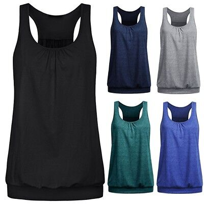 Summer Womens Sleeveless Round Neck Wrinkled Loose Racerback Tank Top Blouse
