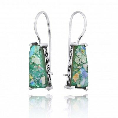Handmade 925 Sterling Silver Lever Back Earrings With Ancient Roman Glass
