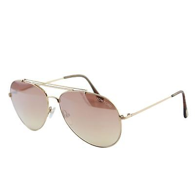 Tom Ford Indiana FT0497 28Z Femme or Rose   Dégradé Marron Pilote Lunettes  de 2f4e5553af39