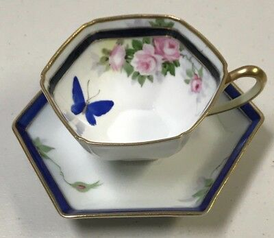 Antique Nippon Hand Painted Hexagon Cup & Saucer Gold & Cobalt Butterfly&Floral