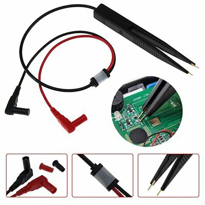 SMT SMD Chip Resistance Test Clip Lead Probe Multimeter Tweezer Capacitor PO