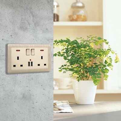 Double Wall Plug Socket 2 Gang 13A Electrical Switch 2 USB Port Charger Outlet