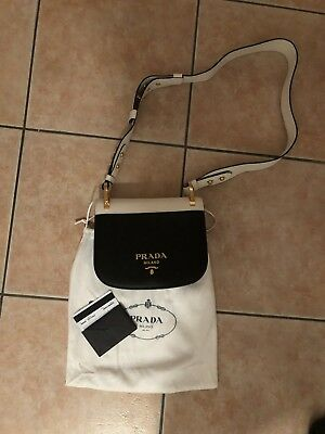 8803e3df056d PRADA PIONNIÈRE BAG City Calf Nero Bianco Neu NP 1750€ - EUR 401