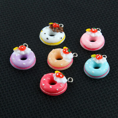 10X Mixed Color Resin Doughnut//Bread//Cake Charm Pendant 22*17mm Jewelry Findings