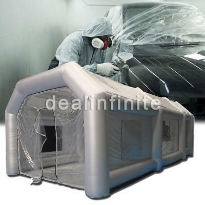 20x10x8Ft Inflatable Giant Spray Paint Booth Car Workstation 6*3*2.5 M w/ 2 Fans