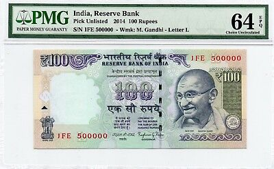 Tt 2014 India 100 Rupees Super Special S/N # 500000 With Block # 1Fe Pmg 64 Epq!