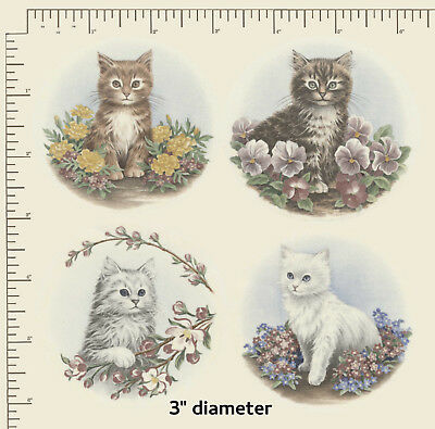 """4  Ceramic decals Decoupage Cats Kittens 3"""" Circular Suit Magnets Coaster PD937b"""