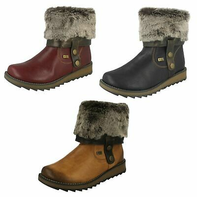 Remonte Drift Womens Warm Lined Fur Cuff Wedge Boots