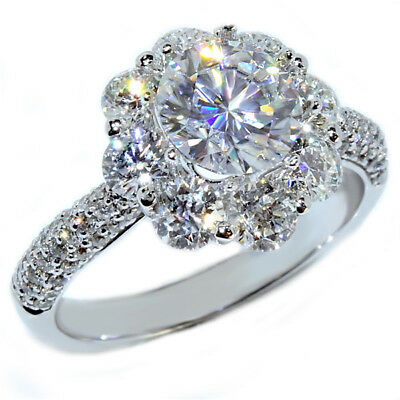 2Ct Round-Cut Forever Moissanite Solitaire Engagement Ring 14k White Gold Finish