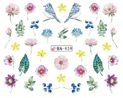Nail Art Decals Transfers Stickers Blue Birds Flowers (BN929)