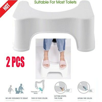 2pcs Toilet Squatty Step Stool Bathroom Potty Squat Aid For Constipation Relief