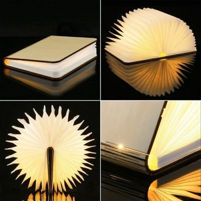 Warm White Book Lamp USB Rechargeable Magnetic Wooden Folding LED Light