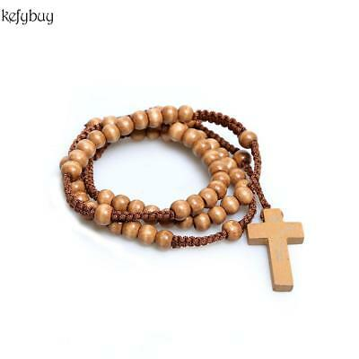 New Unisex Wooden Beads Rosary Necklaces with Pendant Cross KFBY