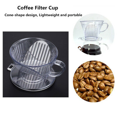 Reusable Coffee Maker Filter Cone Dripper Cups Pour Over Serving Mug Brown NEW