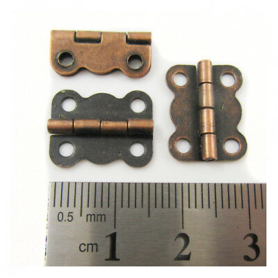 10 x  ANTIQUE COPPER SMALL PLATED MINIATURE HINGES 16 x 12mm DOLLHOUSE H811
