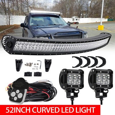 52inch 6720W Curved Cree Led Spot Flood Combo Dual Row Driving Light Bar 50''US